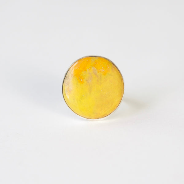 yellow bumble bee jasper in thin silver setting with silver ring - front view