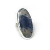 Sodalite Oval Gemstone Ring Set in Sterling Silver