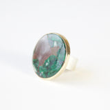 Round Chrysocolla Gemstone Ring in gold and silver