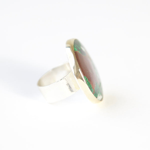 Round Chrysocolla Gemstone Ring in Silver and gold side