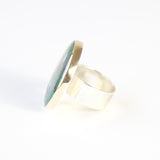 Round Chrysocolla Gemstone Ring in Silver and gold -left side