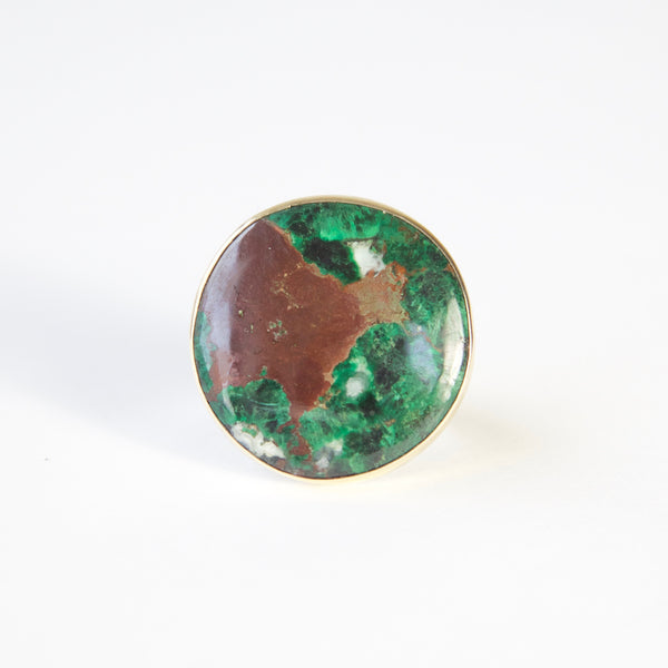 Round Chrysocolla Gemstone Ring in gold