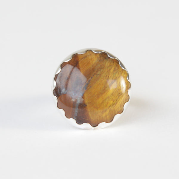 Round Tigers Eye Gemstone Ring in Silver setting - front