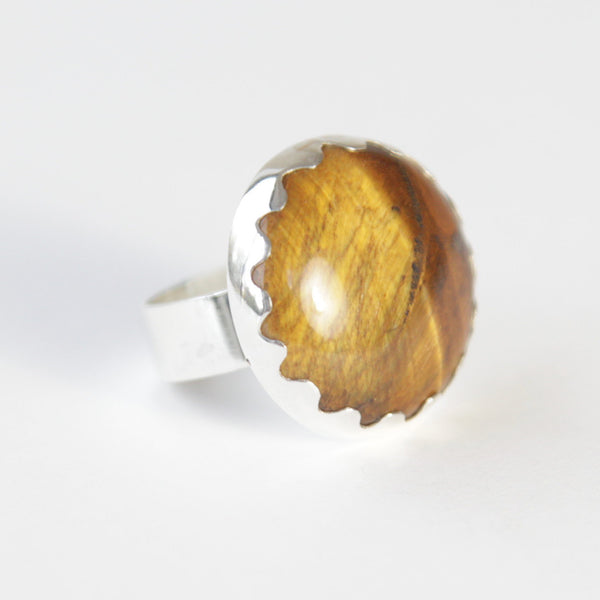 Round Tigers Eye Gemstone Ring in Silver setting - right side