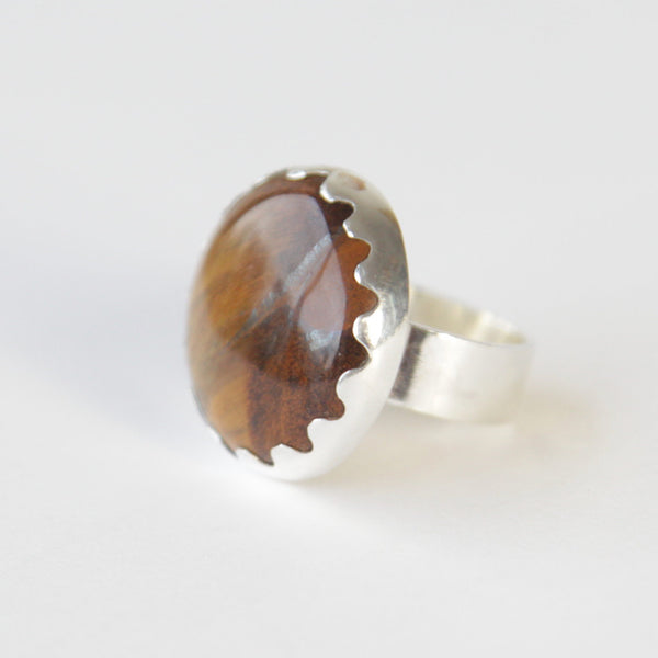 Round Tigers Eye Gemstone Ring in Silver setting - left side