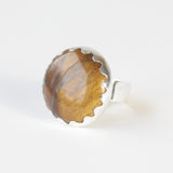 Round Tigers Eye Gemstone Ring in Silver setting - top left