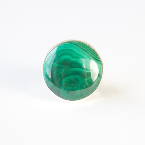 Malachite Round Ring Set in Sterling Silver