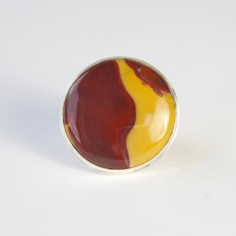 mookaite gemstone ring in sterline silver - front view