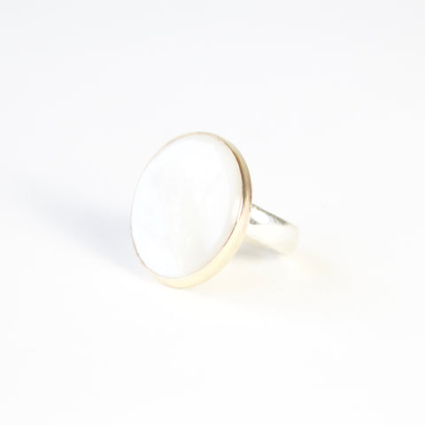 mother of pearl ring - semi precious gemstone ring set in gold with a silver band