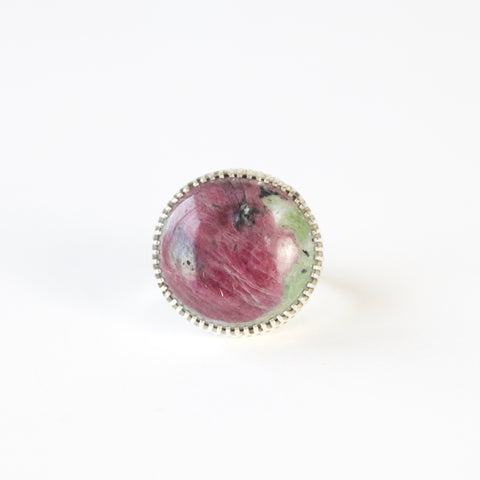 ruby zoisite semi precious gemstone ring in sterline silver