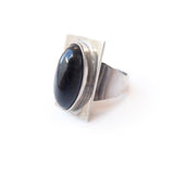 Blue Hawks Eye (Blue Tigers Eye) Gemstone Ring set in Sterling Silver