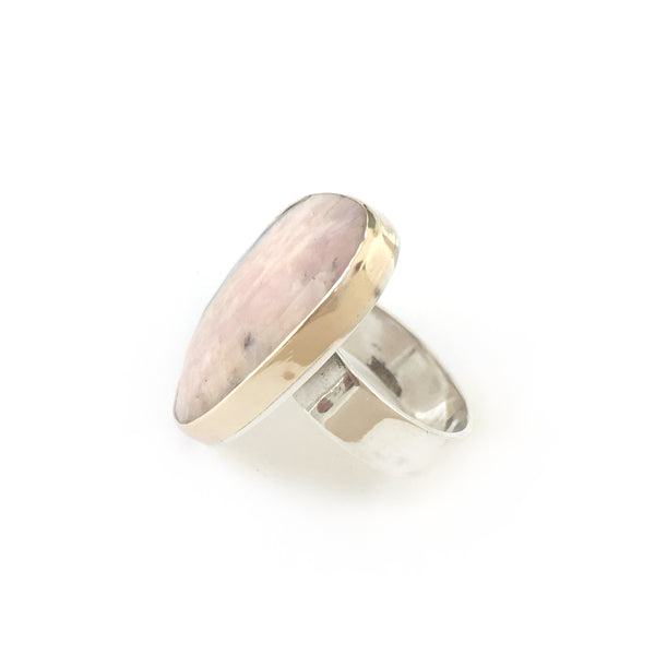 pink peruvian gemstone ring in unusual shape - set in gold with sterling silver ring - left side
