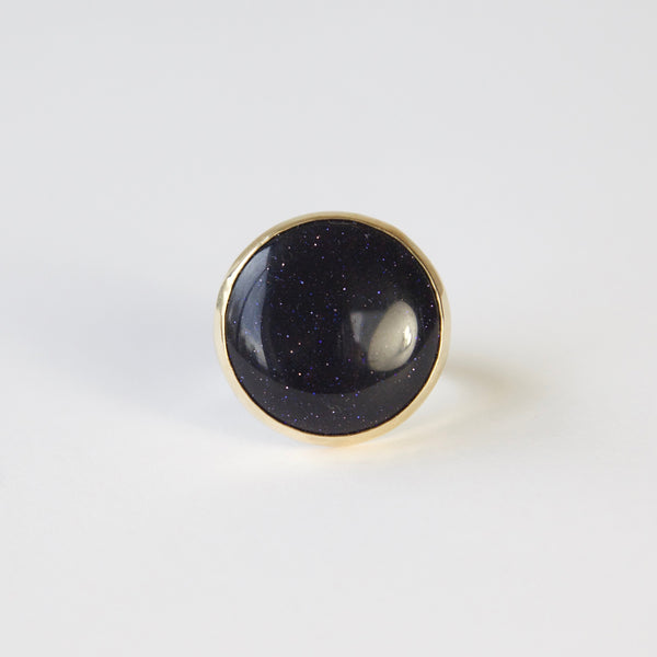 blue goldstone gemstone round ring in 9ct gold - top