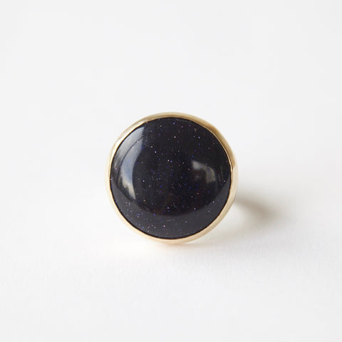 blue goldstone gemstone round ring in 9ct gold