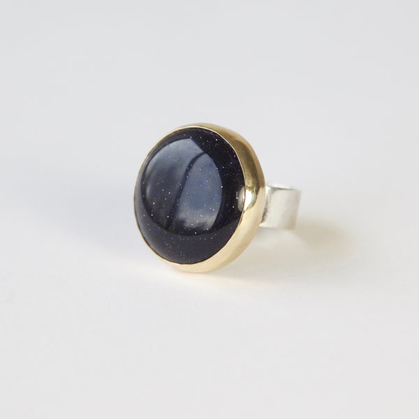 Blue Goldstone Gemstone Ring Set in 9ct Gold