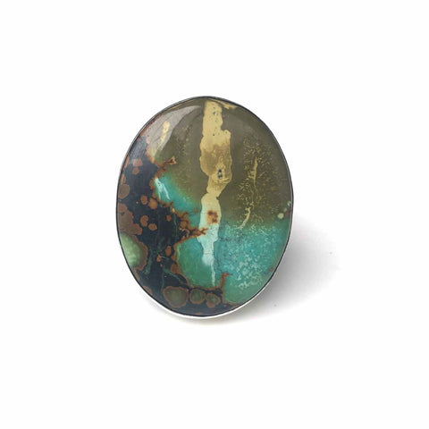 dark colours tibetan turquoise gemstone ring oval - in sterling silver