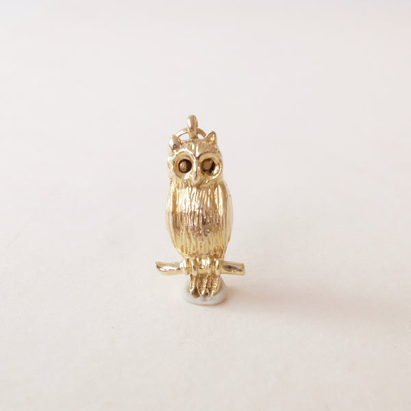 Vintage 9ct Gold Charm - Owl Charm with moving eyes