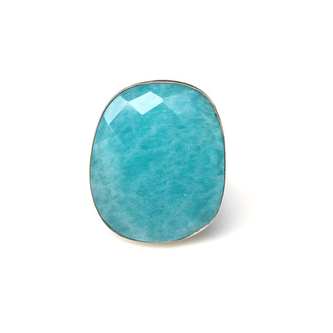 AMAZONITE GEMSTONE RING SET IN 9CT GOLD & STERLING SILVER