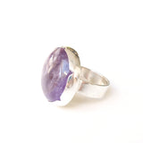 Sterling Silver Gemstone Ring with a unique purple Amethyst stone - side view