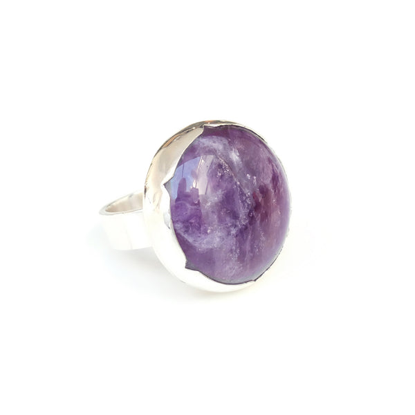 Sterling Silver Gemstone Ring with a unique purple Amethyst stone - right side