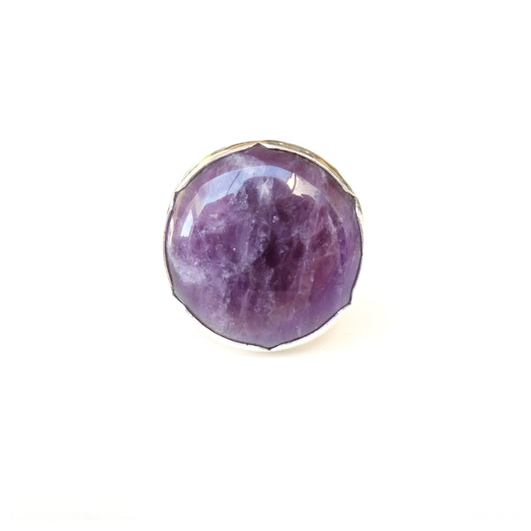 Sterling Silver Gemstone Ring with a unique purple Amethyst stone - front view