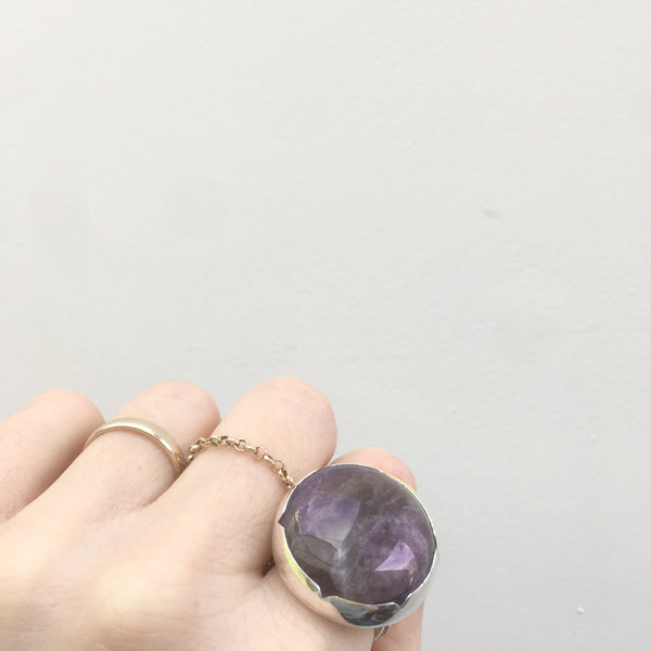 Sterling Silver Gemstone Ring with a unique purple Amethyst stone - worn on hand
