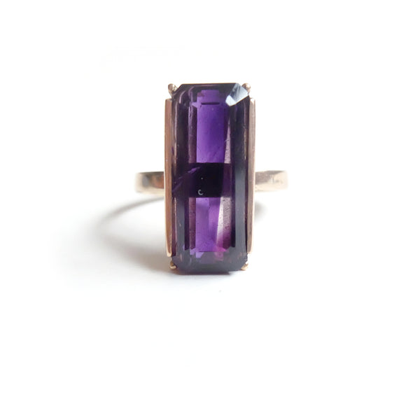 9ct Rose Gold Gemstone Ring with a stunning Amethyst Emerald.