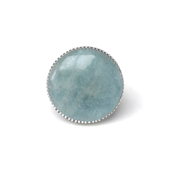 aquamarine gemstone ring in sterling silver - handmade by alice eden