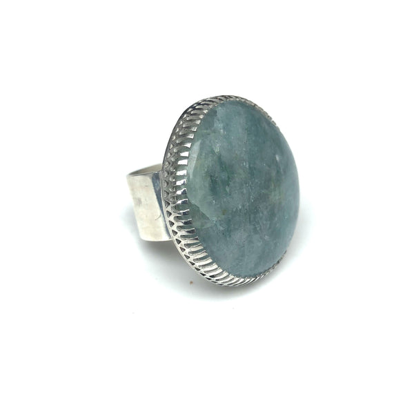 aquamarine gemstone ring in sterling silver side view - handmade by alice eden