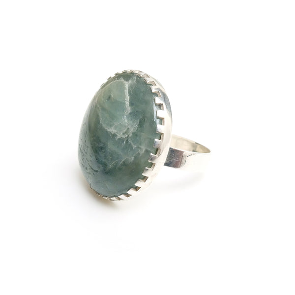 large round aventurine gemstone ring set in sterling silver - right side view of stone