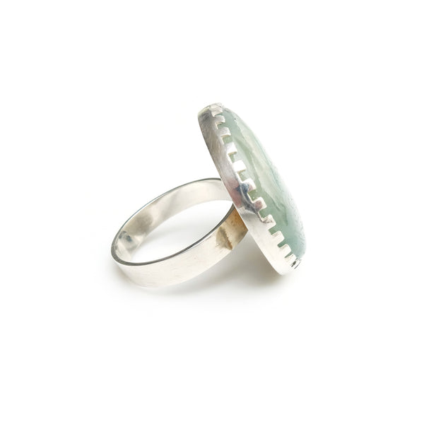 large round aventurine gemstone ring set in sterling silver - right side view