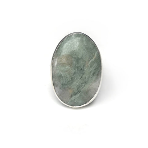 white aventurine semi precious oval gemstone ring in sterling silver