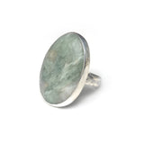 Aventurine Oval Gemstone Ring Set in Sterling Silver