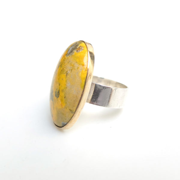 bumblee jasper gemstone ring in gold and silver - from right