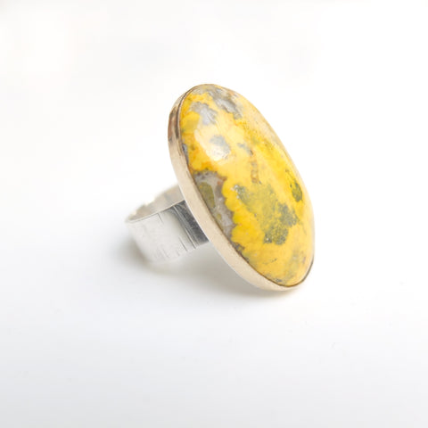bumblee jasper gemstone ring in gold and silver