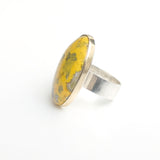 Oval bumblee jasper gemstone ring in gold and silver - view of silver ring