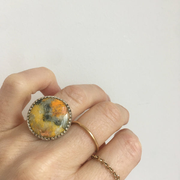 bumble bee jasper gemstone ring in sterling silver setting - on hand