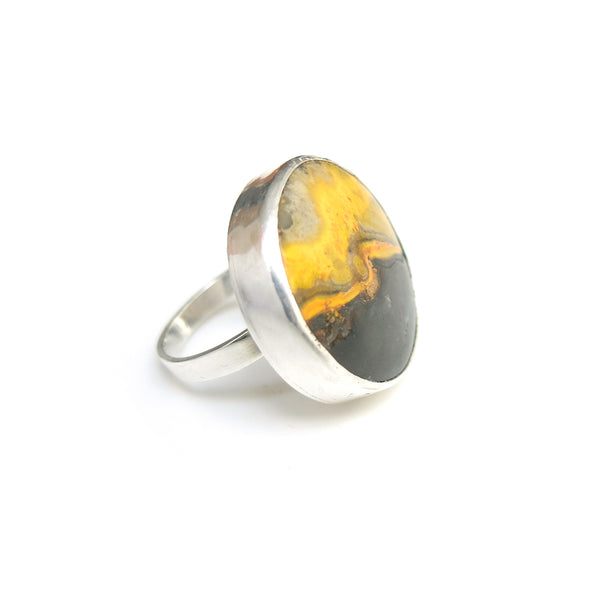 round bumble bee jasper ring in solid silver setting