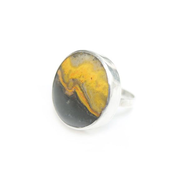 round bumble bee jasper ring in solid silver setting - side view