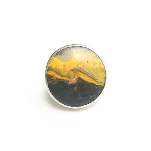 round bumble bee jasper ring in solid silver setting - top view