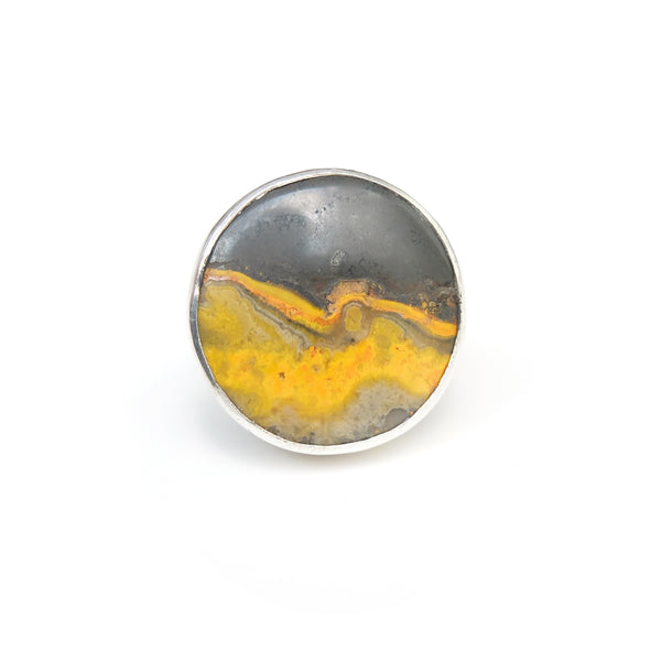 round bumble bee jasper ring in solid silver setting - top view 2