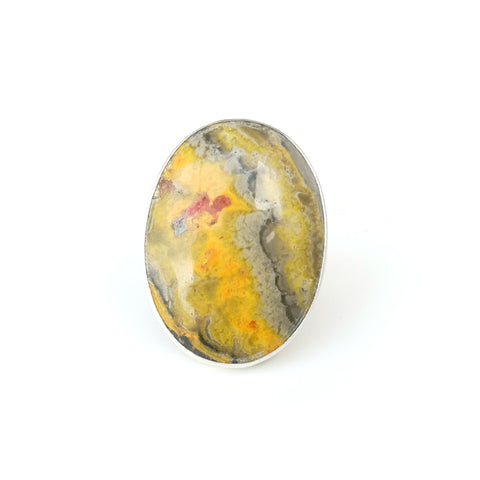 oval bumble bee jasper ring in sterling silver