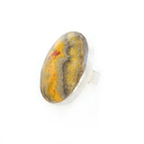 oval bumble bee jasper ring in sterling silver - side view