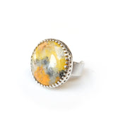 bumble bee jasper gemstone ring in sterling silver setting - side view with silver band