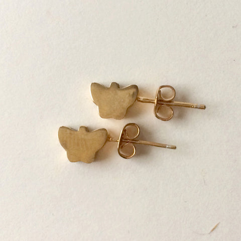 Gold Deco Butterfly Stud Earrings