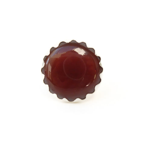 carnelian gemstone ring set in a sterling silver setting