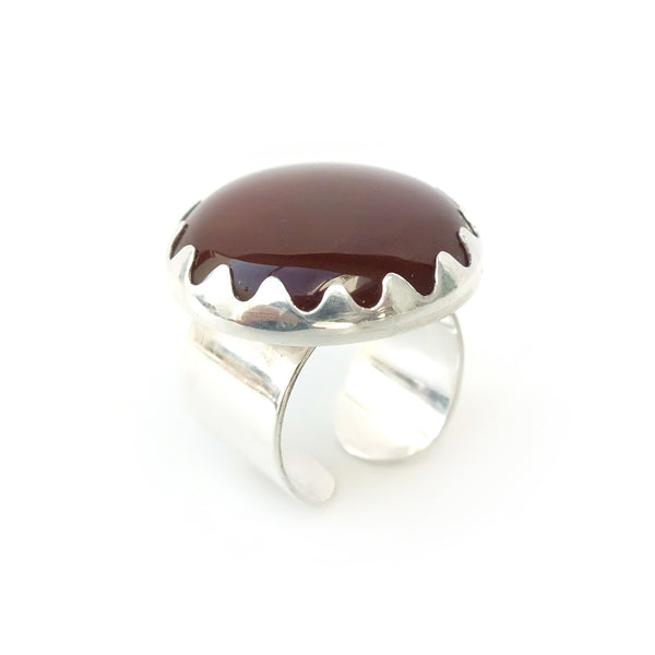 CARNELIAN GEMSTONE RING SET IN STERLING SILVER