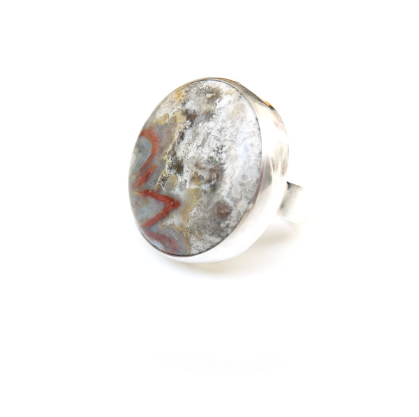 Mexican Lace Agate Gemstone Ring set in Sterling Silver