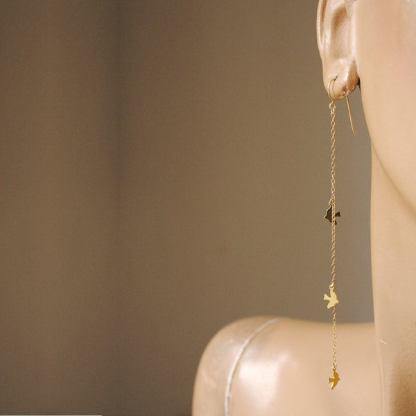 alice eden Jewellery jewelry  gold bird charm asymmetrical drop earrings