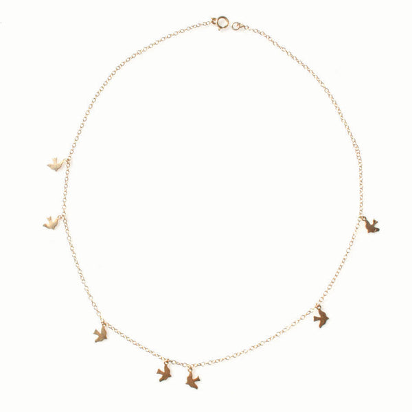 Delicate Gold Bird Charm Necklace